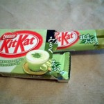 KitKat, green tea with milk.